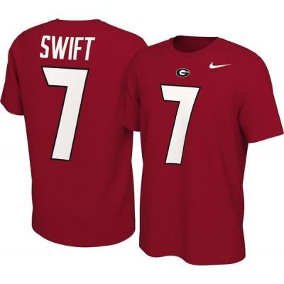 ナイキ Nike メンズ Tシャツ トップス D'Andre Swift Georgia Bulldogs #7 Red College Alumni Core T-Shirt