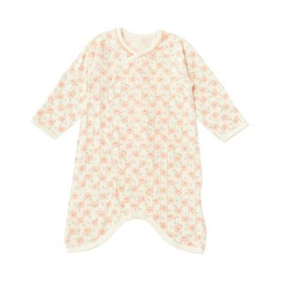 (moimoln/モイモルン)フラワープリント新生児用コンビ肌着/ コーラル