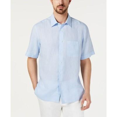 タッソ エルバ Tasso Elba メンズ シャツ トップス Cross-Dye Linen Shirt Billowing Cloud
