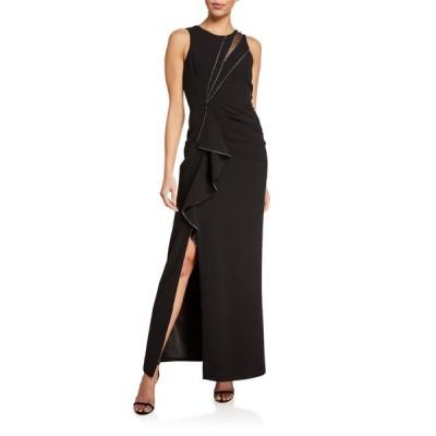 パーカー ブラック レディース ワンピース トップス Ella Sleeveless Stretch Crepe Gown w/ Crystal Trim