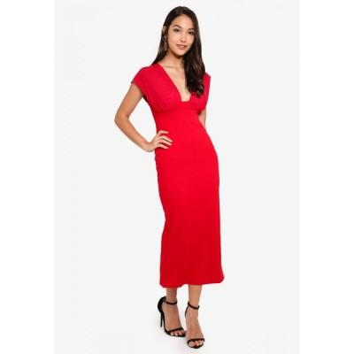 ミスガイデッド Missguided レディース ボディコンドレス ミドル丈 ワンピース・ドレス Mesh Overlay Bodycon Midi Dress Red