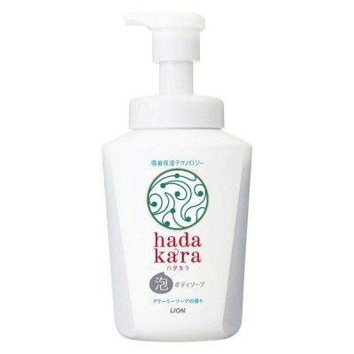 ハダカラ(hadakara)ボディソープ 泡タイプ クリーミーソープの香り ポンプ 550ml ライオン