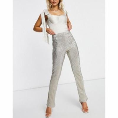エイソス ASOS DESIGN レディース ボトムス・パンツ Jersey Sparkle Kick Flare Suit Trouser In Silver シルバー