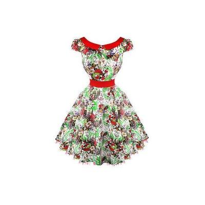 ハーツアンドローズロンドン ドレス ワンピース ハートs ローズs London ホワイト フローラル ビンテージ 50s Prom Swing Flaレッド ドレス UK