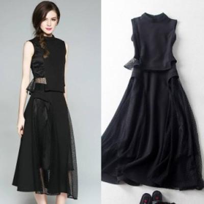 ツーピース 大きいサイズ ドレス 透け感 ノースリーブ シンプル タイト 大人 パーティー フォーマル 膝下丈