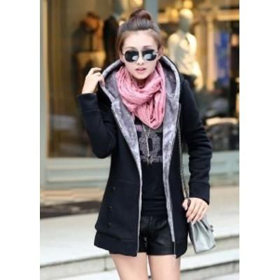 黒 フード付きジャケット もこもこコート 大人上品 冬アウター 暖か 長袖 大人可愛い 防寒 フェミニン 美シルエット