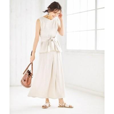 スカート 【Luxe line】リネン混タックデザインスカート