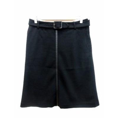 【中古】イエナ IENA スカート タイト ミモレ ロング ライン フェイクレザー ウール ウエストマーク 40 黒 ブラック