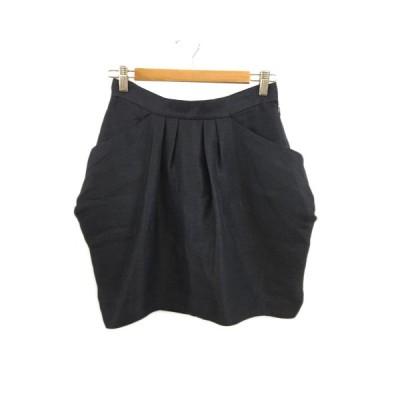 【中古】パンソー Pinceau スカート タイト コクーン ミニ タック リボン 無地 リネン 38 紺 ネイビー レディース 【ベクトル 古着】