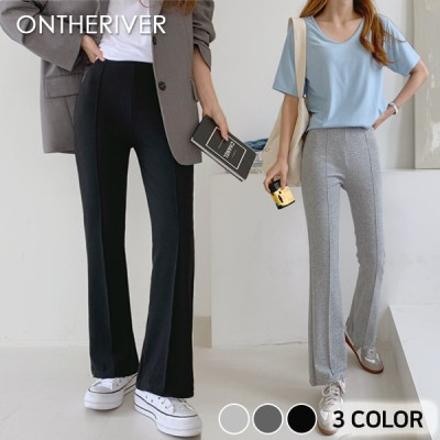 116295ロノンピンタックバンディングブーツカットパンツ[ontheriver] 送料0円! 大人可愛いデイリールック。韓国ファッションNo.1