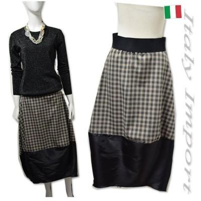 イタリア チェック柄 コクーン スカート