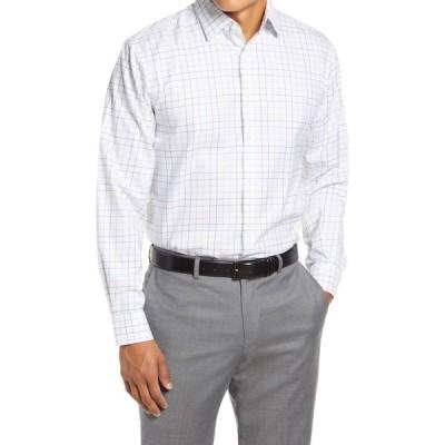 ノードストローム NORDSTROM MEN'S SHOP メンズ シャツ トップス Traditional Fit Non-Iron Windowpane Stretch Dress Shirt Brown Saddle