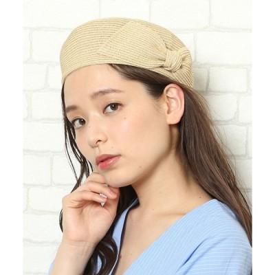 帽子 サイドリボンペーパーベレー