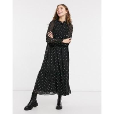 エイソス レディース ワンピース トップス ASOS DESIGN shirred yoke trapeze maxi dress in mono spot print Mono spot