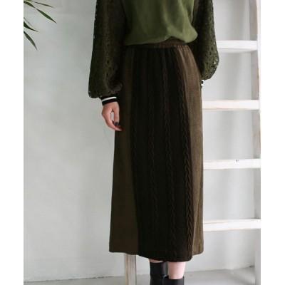 【リアルキューブ】 Lupino ケーブル編み×スエードタイトスカート レディース ブラウン F REAL CUBE
