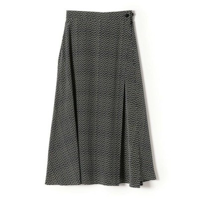 SHIPS for women/シップスウィメン 【手洗い可能】プリントラップスカート ネイビー ONE SIZE