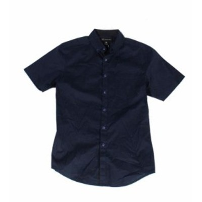 Pocket  ファッション アウター INC Mens Shirt Navy Blue Size Small S Front Pocket Slim Fit Button Down