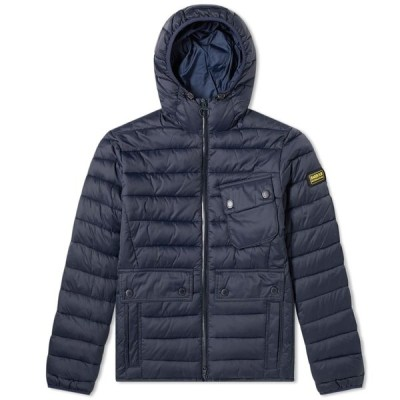 バブアー Barbour メンズ ジャケット フード アウター International Ouston Hooded Quilt Jacket Navy