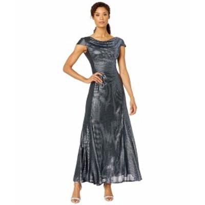タハリ レディース ワンピース トップス Short Sleeve Metallic Gown with Draped Neck and Soft Ruched Bodice Navy