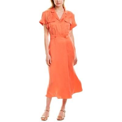 エキプモン ワンピース トップス レディース Equipment Orlenna Silk-Blend Shirtdress hot coral