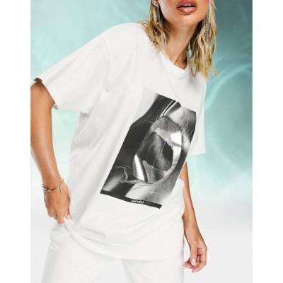 アズユー AsYou レディース Tシャツ トップス ASYOU oversized t-shirt with lips graphic in white ホワイト
