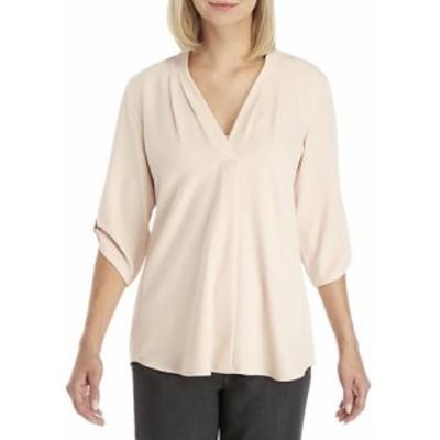 カルバンクライン レディース シャツ トップス 3/4 Roll-Tab Sleeve Inverted Pleat Blouse Blush