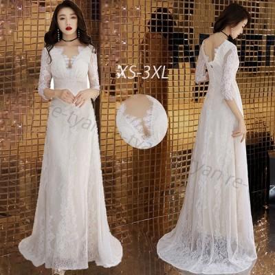 新入荷パーティードレス レディースファッション 2020 人気 大人ドレス 白 結婚式 お呼ばれ ワンピース ロング ウェディングドレス エレガント Vネック 海外挙式