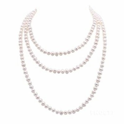 """JYX Pearl Necklace 7.5mm White Freshwater Pearl Sweater Necklace for Women 58"""""""
