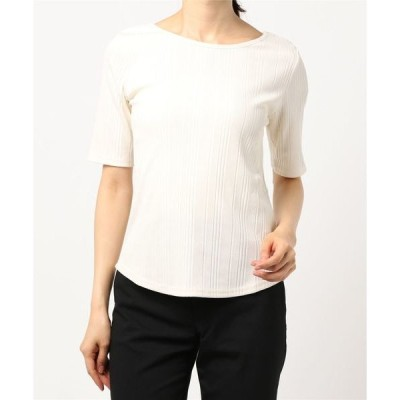 tシャツ Tシャツ 【前後2WAY】ランダムテレコ半袖プルオーバー