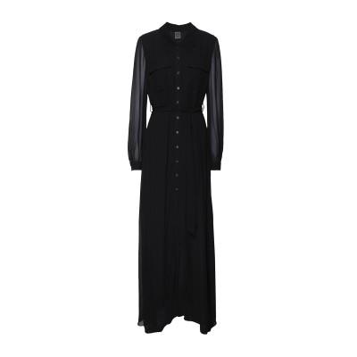 8 by YOOX ロングワンピース&ドレス ブラック 38 レーヨン 100% ロングワンピース&ドレス