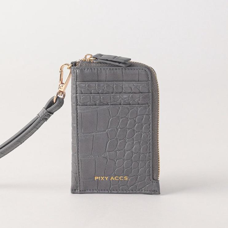 Pixy | 月光帷幕壓紋卡片夾零錢包 深灰