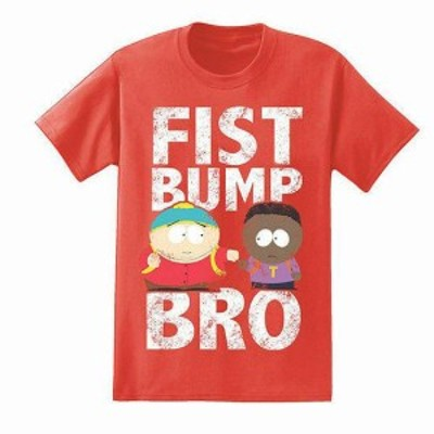 HEATHER  ファッション トップス South Park Mens FIST BUMP BRO Heather Red T-Shirt Tv Show Character Tee NWT