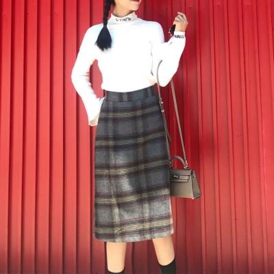 アムールボックス AMOUR BOX レトロチェック柄スカート スカート チェック柄 秋 冬 2019 AW (グレー)