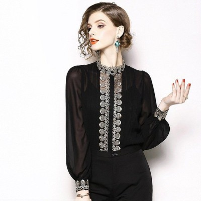 エレガントなシフォンシャツ女性春新しいハイエンドカスタム重工業中空刺繍2ピースシャツ