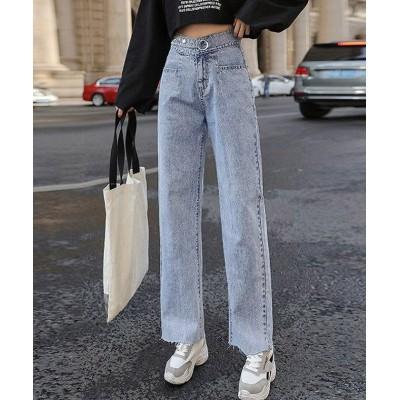【ミニミニストア】 ワイドデニムパンツ レディース ハイウエスト ストレートパンツ 無地 裾切りっぱなし ジーパン ゆったり 美脚パンツ レディース サックス XL miniministore