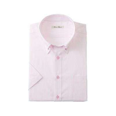 形態安定半袖ワイシャツ(マイターボタンダウン)(標準シルエット) (ワイシャツ)Shirts, テレワーク, 在宅, リモート