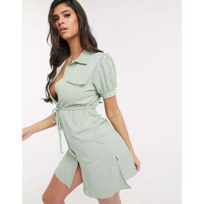 QEDロンドン レディース ワンピース トップス QED London belted utility shirt dress Mint