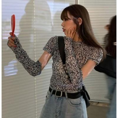 Tシャツ 半袖 花柄 韓国 オルチャン ストリート レトロ きれいめ かわいい K-POP 原宿系 アームカバー スリット トップス  4T-706【メール便OK】