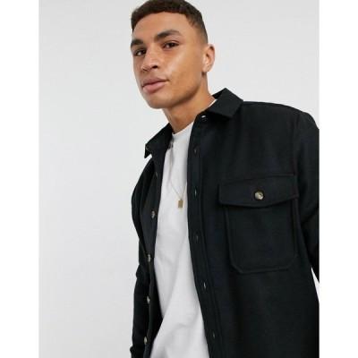 エイソス メンズ シャツ トップス ASOS DESIGN wool blend overshirt in black Black