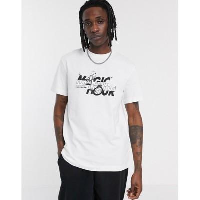 ウィークデイ メンズ Tシャツ トップス Weekday Billy Magic Hour t-shirt with chest print in white