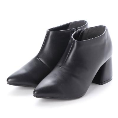 ミニア minia ブロックヒールベリーショートブーツ (ブラック)