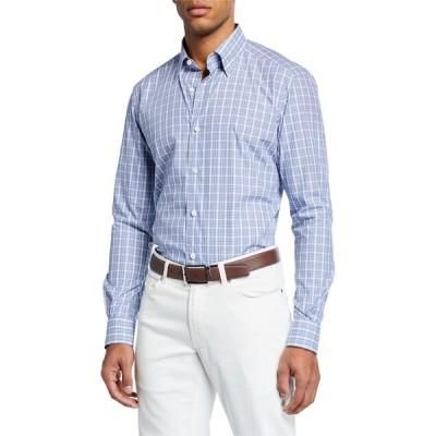 エルメネジルド・ゼニア メンズ シャツ トップス Men's Plaid Long-Sleeve Regular-Fit Shirt