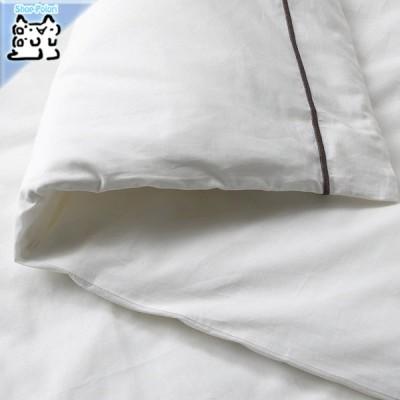 IKEA Original SILVERTISTEL -スィルヴェルティステル- 掛け布団カバー&枕カバー ホワイト/ダークグレー 150x200/50x60 cm