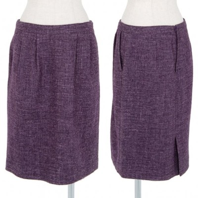 レキップ ヨシエイナバL'EQUIPE YOSHIE INABA カナパ混ツィードスカート 紫38 【レディース】