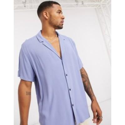エイソス メンズ シャツ トップス ASOS DESIGN relaxed fit viscose shirt with low revere collar in lilac Lilac