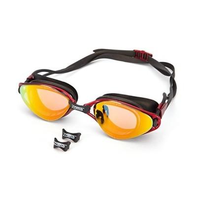 曇り止め付き水泳ゴーグル 調節可能なノーズピース - 紫外線保護ミラーレンズ 子供、ジュニア、男性、女性向け