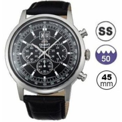 Orient Mens 45mm Black Leather Band Steel Case Quartz Analog Watch FTV02003B0