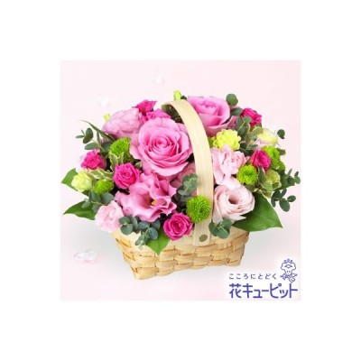 5月の誕生花(ピンクバラ) お祝い 記念日 誕生日 お礼 プレゼント 花キューピットのピンクバラのウッドバスケットアレンジメント