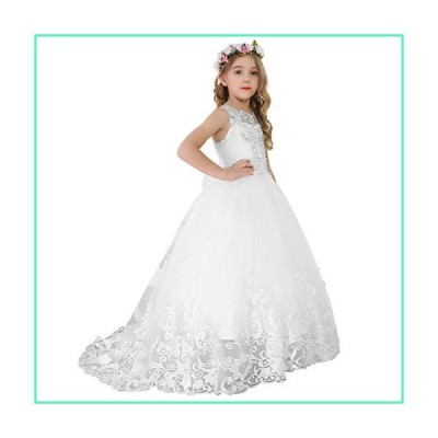 Bow Dream Flower Girl Dress Princess Long Girls Pageant Dresses Kids Prom Puffy Tulle Ball Gown White 8並行輸入品