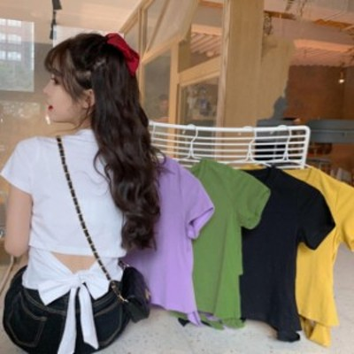 韓国 ファッション レディース 半袖 Tシャツ トップス リボン バックシャン 背中見せ セクシー スリム ガーリー カジュアル 夏